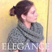Super Chunky Outlander Cowl KNIT KIT includes soft thick Merino Tencel Yarn, #19 extra large knitting needles and written pattern w. photo tutorial. DIY. Elegance Yarn by Living Dreams. GRAPHITE