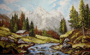 "Needlepoint Kit ""Mountain landscape"" 19.7""x11.8"" (50x30cm) printed canvas 195"