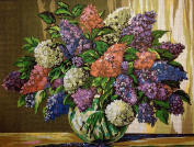 "Needlepoint Kit ""Lilac flowers"" 15.7""x11.8"" (40x30cm) printed canvas 054"