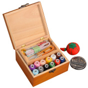 OLizee Portable Wooden Sewing Kit Case Organiser Box Set for Home Travel, with Thread/Needles/Tape Measure/Scissors/Thimble and Other Accessories