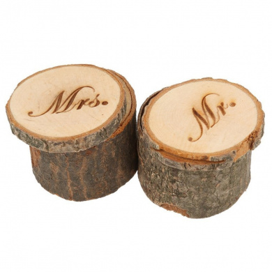 Home-organiser Tech Wooden Rustic Wedding Ring Bearer Box (Mr and Mrs Two Boxes)