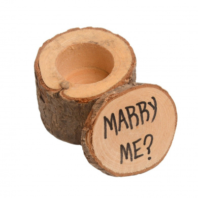 Home-organiser Tech Wooden Rustic Wedding Ring Bearer Box (Marry Me)