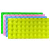 Set of 4 LARGE Building Boards 50cm x 25cm Duplo Size Blocks Compatible, Green, Olive Green, Light Blue, Hot pink