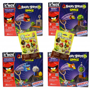 Power Brand 4 Different Angry Birds Knex Set with 2 Characters