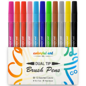 DUAL TIP BRUSH PENS With Fineliner Tip - Set of 12 Water Based - Paint Brush Markers with Fine line tip - Best for Artist Drawing, Shading & Blending, Calligraphy, Adult Colouring, Watercolour, Manga.