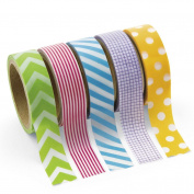 Paper Primary Patterned Washi Tape Set (5 Rolls) - Party Supplies by_anytimecostume