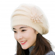 Beanie Hat,Canserin Women's Fashion Flower Knit Crochet Beret Cap Winter Warm Beanie Hat