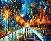 Arts Language Wooden Framed 41cm x 50cm Paint by Numbers Diy Painting -walking in the rain