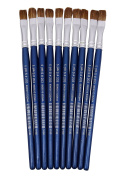 Polo Fine Detail Flat Water Colour Paint Brushes Size 13cm Pack of 10