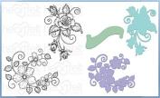 Heartfelt Creations Bundle Dies+Stamps Blushing Rose Swirls, HCD1-7114+HCPC3756