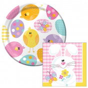 Easter Picnic Dessert Plates & Napkins Party Kit for 8