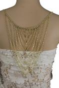 TFJ Women Fashion Long Drop Open Low Back Necklace Water Drop Bead Metal Gold