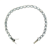 25.00 Ct White Gold Women's Aquamarine Tennis Bracelet 14 Kt