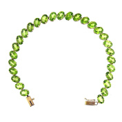 21.00 Ct Yellow Gold Women's Peridot Tennis Bracelet 14 Kt