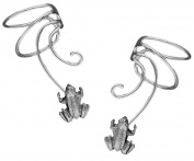 Lucky Frog Pair 925 Sterling Silver Non-pierced Wave Ear Cuff Earrings