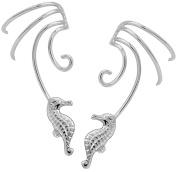 Sea Horse Pair 925 Sterling Silver Non-pierced Wave Ear Cuff Earrings