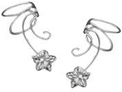 Plumeria Flower Pair Sterling Silver Non-pierced Wave Ear Cuff Earrings