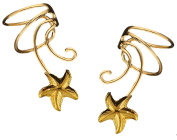 Star Fish Pair Gold On 925 Sterling Non-pierced Wave Ear Cuff Earrings