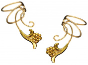 Flower Pair Gold On 925 Sterling Non-pierced Wave Ear Cuff Earrings