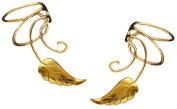 Southwest Leaf Pair Gold On Sterling Non-pierced Wave Ear Cuff Earrings