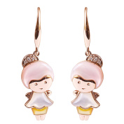 9K High Polished Rose Gold with White-Yellow-Pink Pearl and 0.04ct Diamond Beautiful Earrings