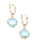 Blue Topaz Dangle Earrings,14K Yellow Gold Leverbacks