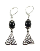 Double Celtic Triskelion Knot Earrings with Black Tourmaline, 4.4cm , Sterling Silver