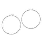 Sterling Silver Rhodium-plated 2mm Polished D/C Hoop Earrings 72x70mm