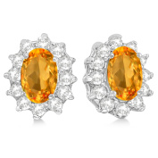 2.05ctw Kate Middleton Fashion Natural Oval-Cut Citrine and Diamond Accented Stud Earrings 14k White Gold