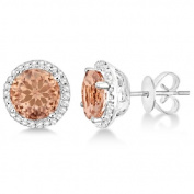 Ladies 7mm Round Morganite and Diamond Halo Stud Earrings in Polished Sterling Silver 2.66ct