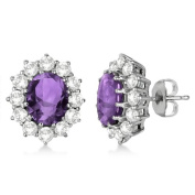 Oval Genuine Amethyst and Diamond Accented Earrings 14k White Gold
