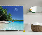 Ocean Shower Curtain Decor by Ambesonne, Tropic Palm Trees Heaven Beach Colourful Picture, Polyester Fabric Bathroom Shower Curtain Set with Hooks, Ivory Blue Green Turquoise