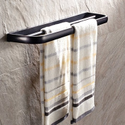 Essential Functional Design Black Oil Rubbed Bronze Finish Wall Mount Brass Double Rail Towel Bar Rack Bathroom Towels Holder and Robe Hanger Bathroom Hardware