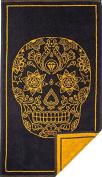 Skull Jacquard Hand Towel ( 100% Cotton , 90cm x 50cm ) in Charcoal Grey by Mandala Life ART