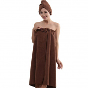 Prettysell Microfiber Towel Bow-knot Bathrobes Women's Bath Shower with Dry Hair Cap Hat Towel Women Bath Towels