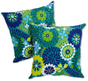 Blazing Needles Indoor/Outdoor Spun Poly 50cm by 50cm by 15cm Throw Pillow, Luxury Azure, Set of 2