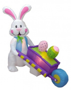 1.2m Inflatable Party Bunny Pushing Wheelbarrow with Eggs - Yard Blow Up Decoration