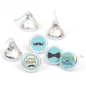 Dashing Little Man Moustache Party - Round Candy Sticker Favours - Labels Fit Hershey's Kisses