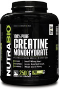 NutraBio 100% Pure Creatine Monohydrate Powder - 2500 Grammes - HPLC Tested, Micronized, Unflavored, No Additives or Fillers, GMP. Post Workout Muscle Building Supplement.