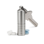 Cielo Pill Holders - Stainless Steel Keychain Pill Fob - Made in USA - Lifetime Guarantee - Slim Dual Chamber Pill Case (1.3cm id; 5.8cm h) - Everyday Carry Pill Box - Waterproof EDC Container