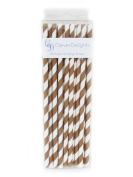 CleverDelights Biodegradable Paper Straws - Brown Stripe - Box of 100