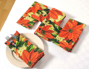 Patterned Cotton Dinner Napkins - 50cm x 50cm - Set of 6 Premium Table Linens for the Dining Room - Red, Green and Gold Poinsettia