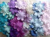 ICRAFY Assorted Die cut Flower Mulberry paper Blue Purple Tone , Pastel Tone 100 Pcs. Size 2.5cm