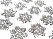 CraftbuddyUS MF4-20pcs, 35mm Silver Filigree Metal Embellishments Flowers, Wedding Craft