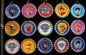 15 Paw Patrol SILVER Bottle Cap Pendant Necklaces Set 1