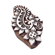 Jaipuri Swirl Floral Motif Wood Print Stamp