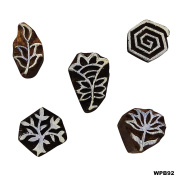 Wooden Printing Block Hand Carved Stamp Decorative Blocks Lot of 5 Pcs Stamp Textile Wooden Tattoo Fine Art