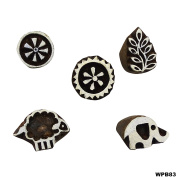 Scrapbook Stamp Floral Wooden Textile Stamps Hand Carved Printing Block Indian Brown Tattoo Lot of 5 Pcs Wooden Stamps