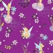 "Disney ""Tinerbell on Spot"" Tinkerbell on Violet background 100% Cotton Fabric (Great for Quilting, Sewing, Craft Projects, Quilts, Throw Pillows & More) 1/2 Yard X 110cm Wide"