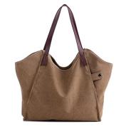 ELEOPTION Women's Simple Style Vintage Canvas Handbag Shoulder Bag Totes Shopper Hobo Bag For Women Girls Students